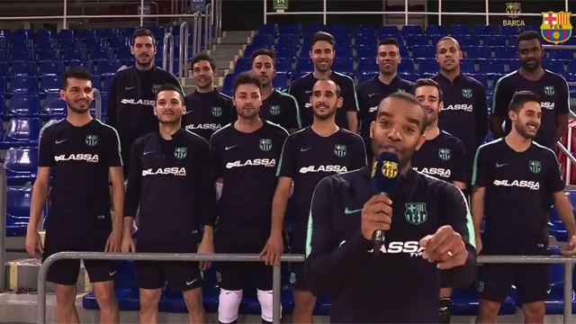 ¡Los jugadores del Barça Lassa cantan para llenar el Palau!