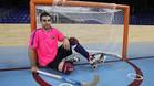 Marc Gual, ante la portería del Palau Blaugrana