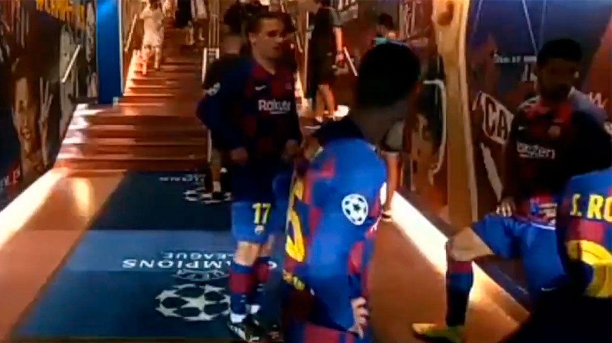 La arenga de Messi al descanso del Barça-Nápoles