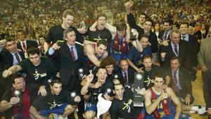 El Barça ganó su primera Euroliga en 2003 con Pesic y con casi 2,03 m de altura media