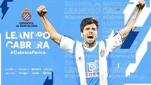 Cabrera ya es nuevo futbolista del Espanyol