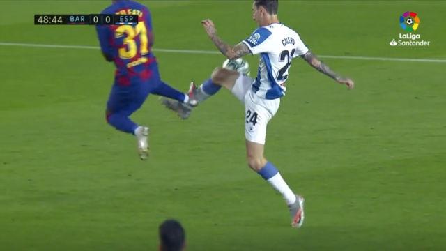 La expulsión de Ansu Fati ante el Espanyol