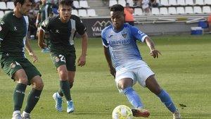 Joanet, jugando contra el Espanyol B, el día que marcó su único gol de esta Liga