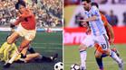 Johan Cruyff en acción durante el partido entre Argentina y Holanda el 26 de junio de 1974 y Leo Messi en una jugada de la final de la Copa América 2016 de Argentina contra Chile