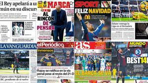 Las portadas de la Prensa en Madrid y Barcelona sobre el clásico Real Madrid - Barça 2017/18