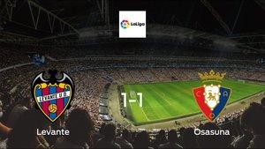Levante drop points against Osasuna: 1-1 at Ciudad de Valencia