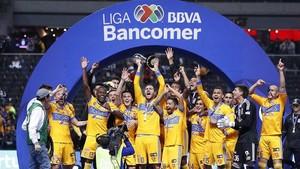 Los jugadores de Tigres celebran la victoria ante Monterrey