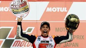 Marc Márquez celebró su quinto mundial hace un año en Motegi