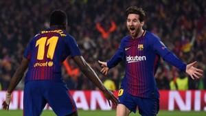 Messi y Dembélé celebraron el segundo gol, obra del francés