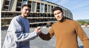 Uri y Roger Serrano, juntos a las puertas del Camp Nou
