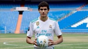 Vallejo en la presentación como jugador del Real Madrid