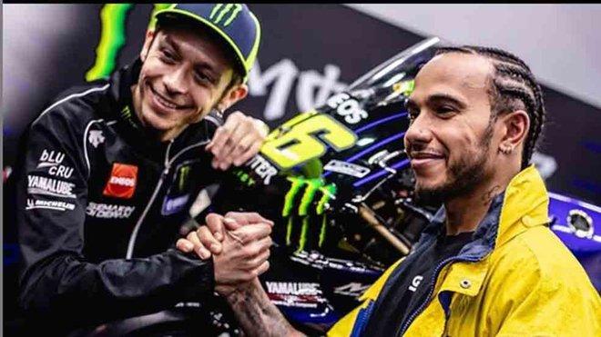 Hamilton y Rossi se retan con sus monturas intercambiadas en Cheste