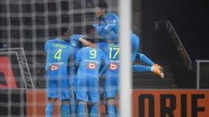 Así celebraron el tanto los jugadores del Marsella.