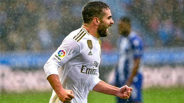 Carvajal anotó el gol de la victoria del Madrid ante el Alavés