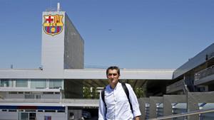 Ernesto Valverde en la Ciudad Deportiva del FC Barcelona Joan Gamper de Sant Joan Despí