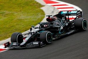 Hamilton, en acción en el Hungaroring