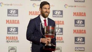 Leo Messi durante la ceremonia de entrega del Pichichi 2017/18