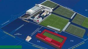 Plano de las calles aledañas a la Ciudad Deportiva Joan Gamper y el estadio Johan Cruyff