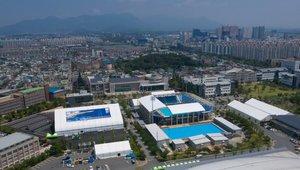 Vista aérea de parte de las instalaciones de los 18º Mundiales FINA de Natación en Gwangju (Corea del Sur) este lunes. Los Campeonatos del Mundo se celebrarán del 12 al 28 de julio.