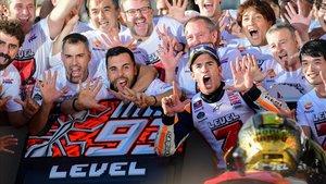 Marc Márquez celebró el título con su equipo