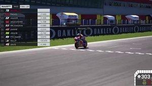 Àlex Márquez, cruzando la meta en la MotoGP Virtual Race