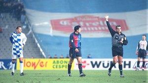 Brito Arceo, durante el Espanyol-Barça de la temporada 99/00