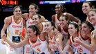 España celebra la victoria en cuartos de final de la Eurobasket Femenina