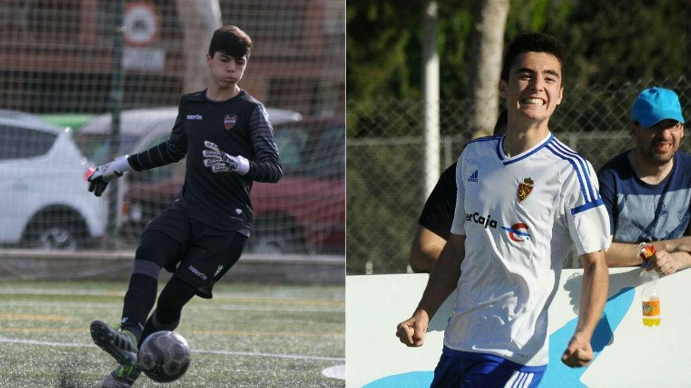 a la izquierda Pablo Cuñat, con el Levante y a la derecha Luis Forcen, con el Zaragoza