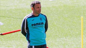 Javi Calleja en un entrenamiento del Villarreal