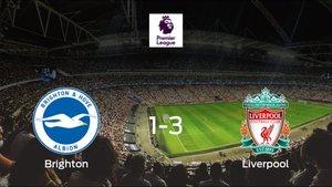 El Liverpool logra una trabajada victoria ante el Brighton and Hove Albion (1-3)