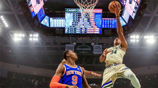 Los Bucks arrollan a los Knicks con un Antetokounmpo espectacular