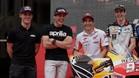 Los hermanos Espargaró, a la izquierda, y los Márquez, en la presentación del GP