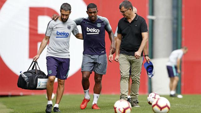 Malcom abandona el entrenamiento del Barça por lesión