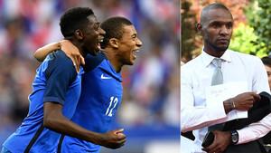 Ousmane Dembélé y Kylian Mbappé celebran un gol con la selección francesa (izquierda); a la derecha, Éric Abidal, exjugador y embajador del FC Barcelona