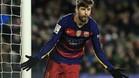 Piqué celebra su cuarto tanto contra el Espanyol