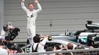 Rosberg, celebrando una nueva victoria en el Mundial