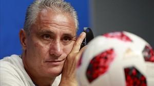 El seleccionador brasileño durante la rueda de prensa de hoy