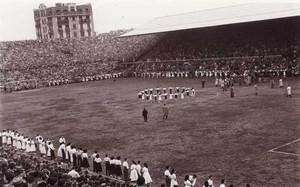 Una imagen del viejo campo de Les Corts durante las Bodas de Oro del FC Barcelona, en noviembre de 1949