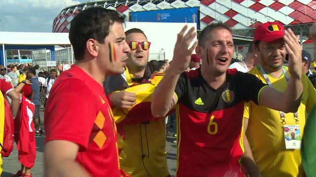 Varios aficionados belgas cantan Ciao Messi