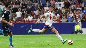 Aitor Ruibal en el partido de la la Liga 123 frente al CD Lugo