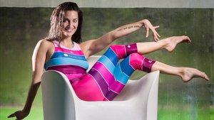 Andrea Fuentes, en la presentación del bañador que ha ideado para entrenar sincro