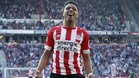 Donyell Malen, jugador del PSV, celebrando un gol