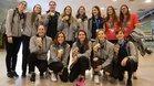El equipo femenino de waterpolo, a su llegada a Barcelona