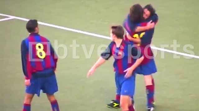 El hat-trick perfecto de Messi... con el Barça C: de cabeza, con la izquierda y con la derecha