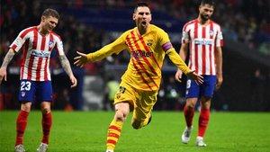 Leo Messi celebra el gol del triunfo en el Atlético-Barça de La Liga 2019/20