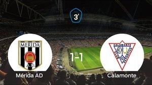 El Mérida AD no pudo conseguir la victoria contra el Calamonte (1-1)