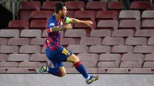 Messi, celebrando su gol ante el Nápoles