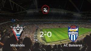 El Mirandés aprovecha de su ventaja de campo y vence en la ida de la final de los playoff (2-0)