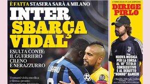 La portada de la Gazzetta donde aparece Arturo Vidal
