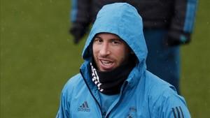 Ramos, en el entrenamiento del Madrid